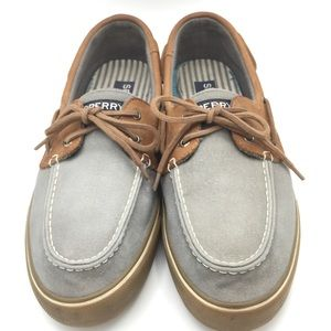 Sperry Blue Gray Canvas Loafers With Leather Trim